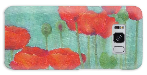 Red Poppies Colorful Poppy Flowers Original Art Floral Garden  Galaxy Case