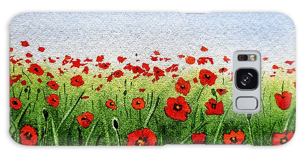 Red Poppies Green Field And A Blue Blue Sky Galaxy Case
