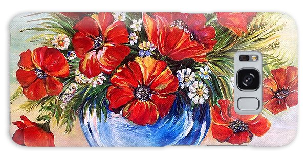 Red Poppies In Blue Vase Galaxy Case