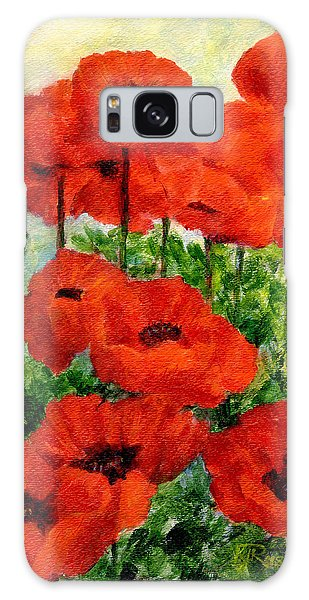 Red  Poppies In Shade Colorful Flowers Garden Art Galaxy Case