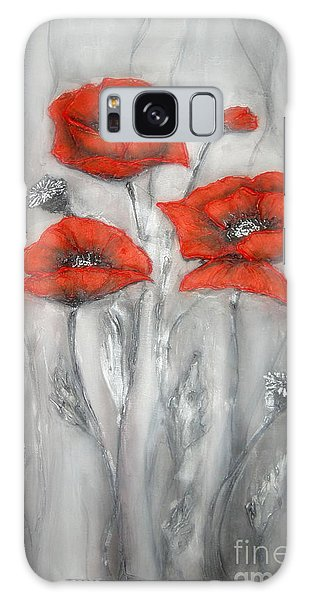 Red Poppies In Silver Dream Galaxy Case