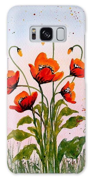 Red Poppies Original Watercolor  Galaxy Case