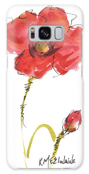 Red Poppy And Bud Galaxy Case