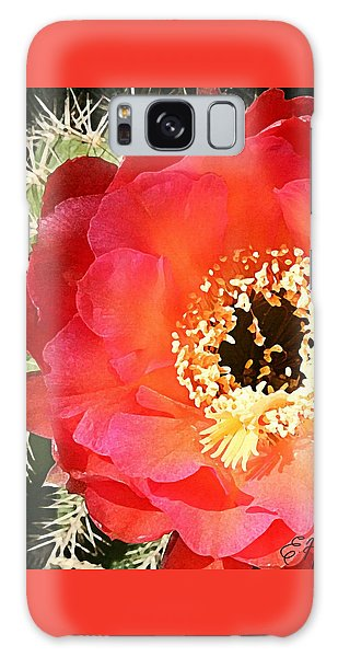Red Prickly Pear Blossom Galaxy Case
