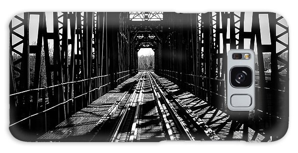 Red River Rail Road Crossing In Bw Galaxy Case by Diana Mary Sharpton