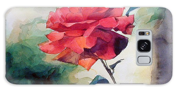 Watercolor Of A Single Red Rose On A Branch Galaxy Case