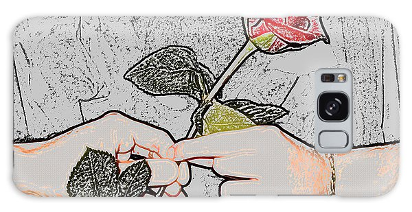 Red Rose Sketch By Jan Marvin Studios Galaxy Case
