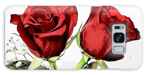 Red Roses 3 Galaxy Case by Rose Wang