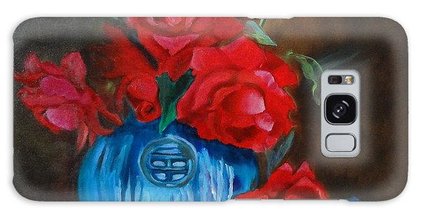 Red Roses And Blue Vase Galaxy Case