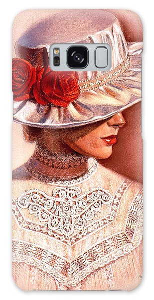 Red Roses Satin Hat Galaxy Case