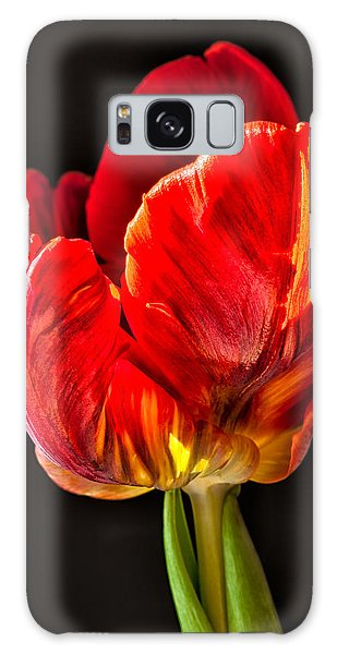 Red Ruffles Galaxy Case by Joan Herwig