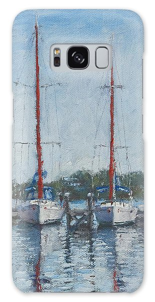 Red Sails Under Gray Sky Galaxy Case