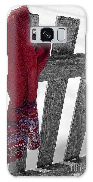 Red Scarf Hanging On Fence Galaxy Case by Birgit Tyrrell