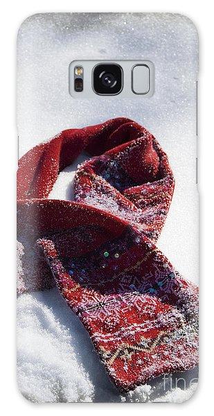 Red Scarf In Snow Galaxy Case by Birgit Tyrrell
