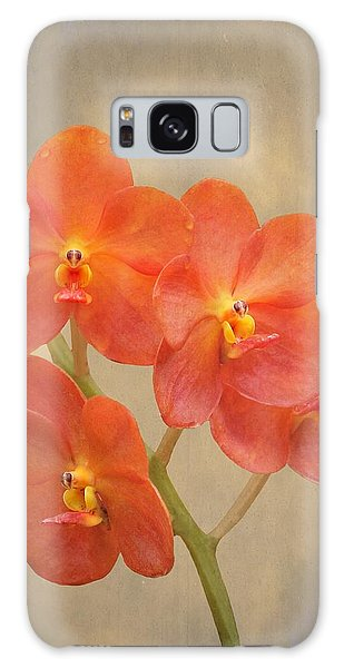 Red Scarlet Orchid On Grunge Galaxy Case