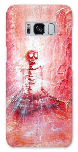 Red Skeleton Meditation Galaxy Case