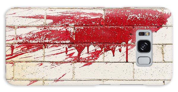 Red Splash On Brick Wall Galaxy Case