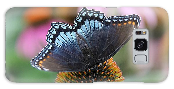 Red Spotted Admiral Butterfly Galaxy Case by Yumi Johnson