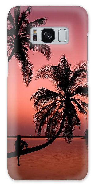Red Sunset In The Tropics Galaxy Case