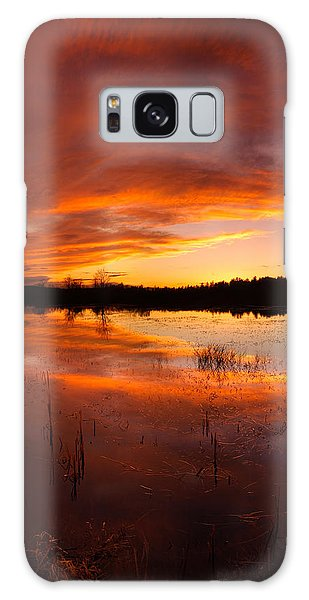 Red Sunset Over Massabesic Lake Galaxy Case