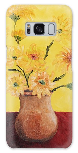 Red Table And Yellow Flowers Galaxy Case