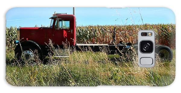 Red Truck In A Corn Field Galaxy Case