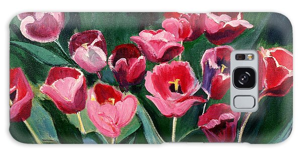 Red Tulips In A Baker's Dozen Galaxy Case by Betty Pieper