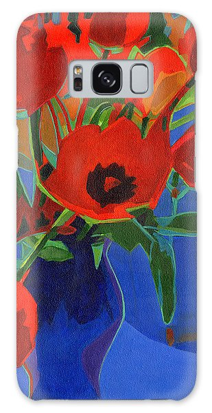 Red Tulips On Blue  Galaxy Case