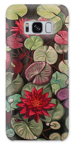 Red Water Lilies Galaxy Case