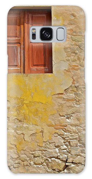 Red Weathered Wood Window Of The Medieval Village Of Obidos Galaxy Case