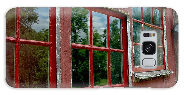 Galaxy Case featuring the photograph Red Windows Paned by Christiane Hellner-OBrien