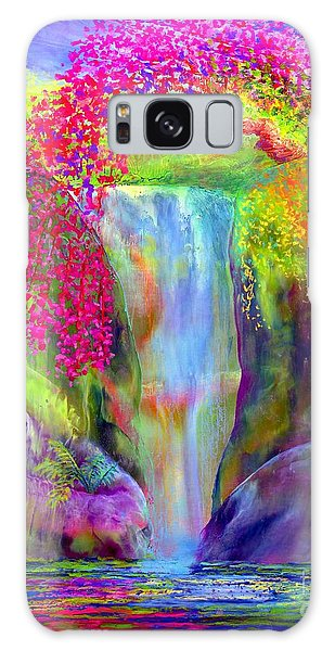Waterfall And White Peacock, Redbud Falls Galaxy Case