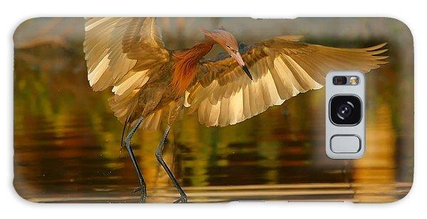 Reddish Egret In Golden Sunlight Galaxy Case by Myrna Bradshaw