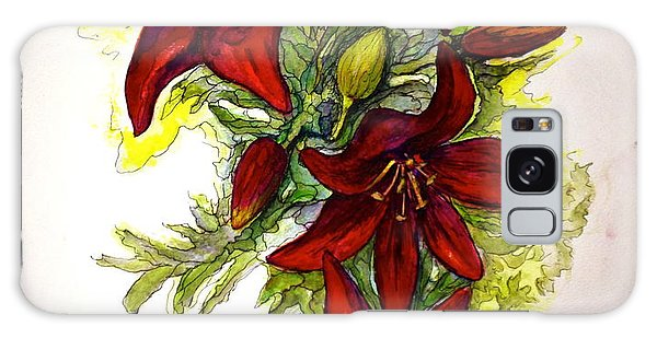 Red Lilies Galaxy Case by Rae Chichilnitsky