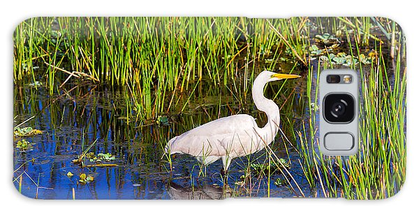 Boynton Galaxy Case - Reflection Of White Crane In Pond by Panoramic Images