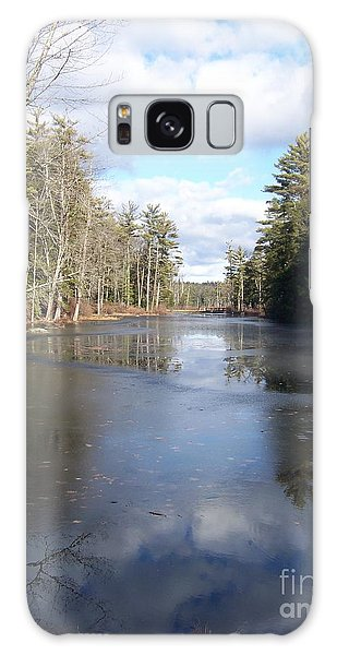 Reflections Caught On Ice At A Pretty Lake In New Hampshire Galaxy Case by Eunice Miller
