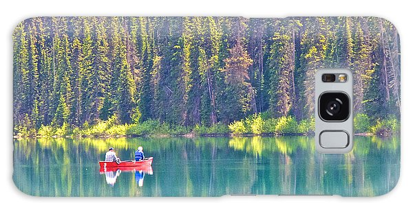 Reflective Fishing On Emerald Lake In Yoho National Park-british Columbia-canada  Galaxy Case