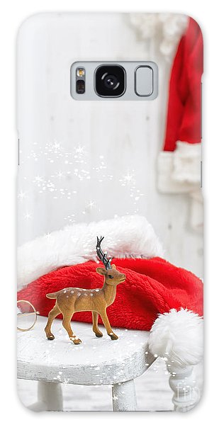 Santa Claus Galaxy Case - Reindeer With Santa Hat by Amanda Elwell