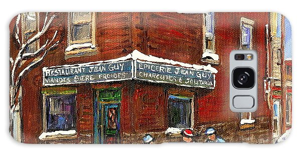 Restaurant Epicerie Jean Guy Pointe St. Charles Montreal Art Verdun Winter Scenes Hockey Paintings   Galaxy Case