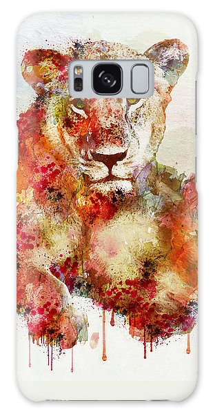 Resting Lioness In Watercolor Galaxy Case