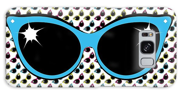 Retro Blue Cat Sunglasses Galaxy Case