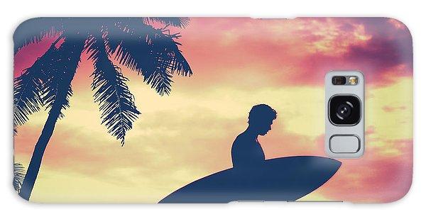 Board Walk Galaxy Case - Retro Palm Tree And Surfer by Mr Doomits