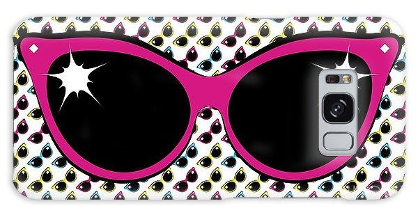 Retro Pink Cat Sunglasses Galaxy Case