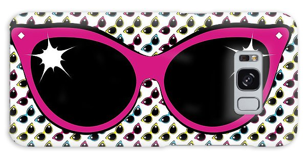 Retro Pink Cat Sunglasses Galaxy Case