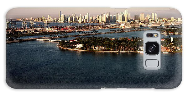Retro Style Miami Skyline Sunrise And Biscayne Bay Galaxy Case