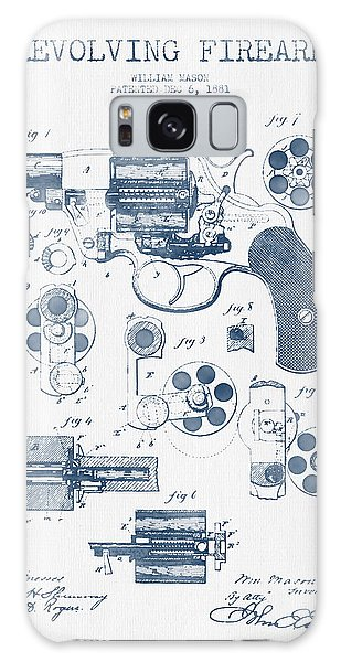 Weapons Galaxy Case - Revolving Firearm Patent Drawing From 1881 -  Blue Ink by Aged Pixel