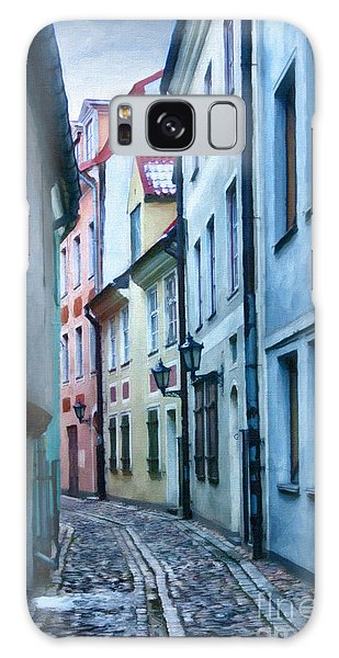 Riga Narrow Street Painting Galaxy Case