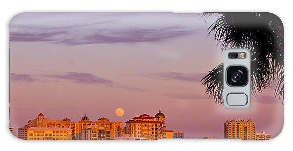 Rising Full Moon Sunset Sarasota Cityscape Galaxy Case