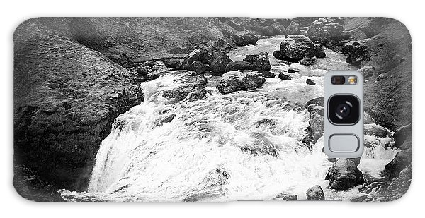 River Landscape Iceland Black And White Galaxy Case