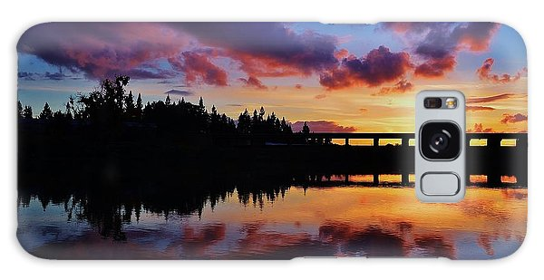 River Reflection Sunset Galaxy Case